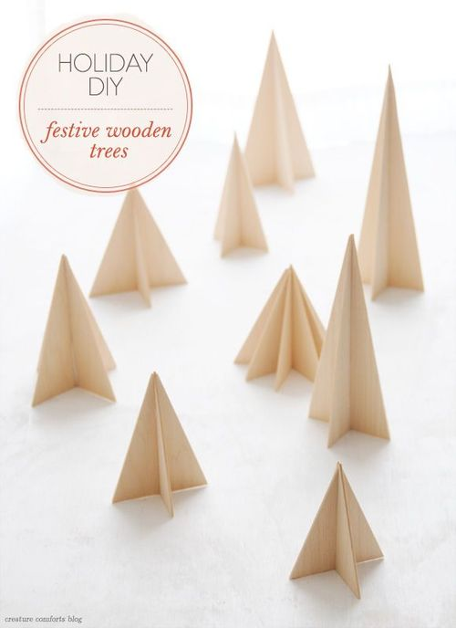 DiY festive wooden trees via
