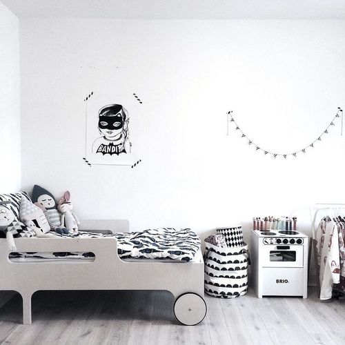 Black & White Kids Rooms