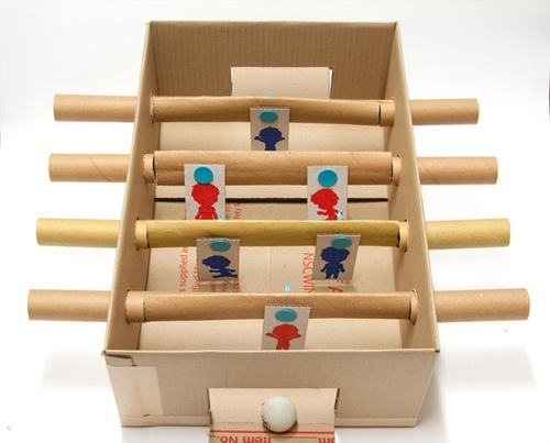 Makedo cardboard foosball table ( via )