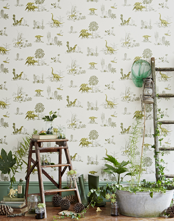 Magnetic dinosaur wallpaper for children