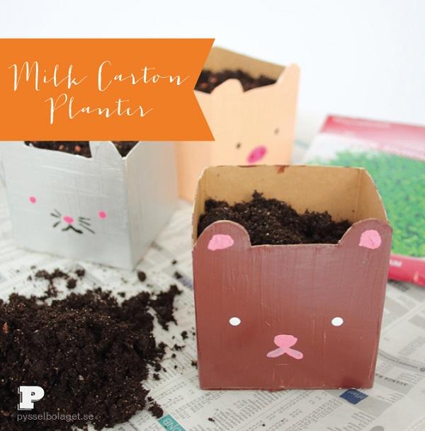 DIY: Animal pots with milk cartons