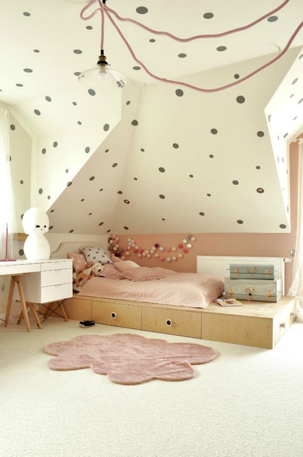 Playful Pink, White and Grey Kid's Room Designed by Li at Projekt I