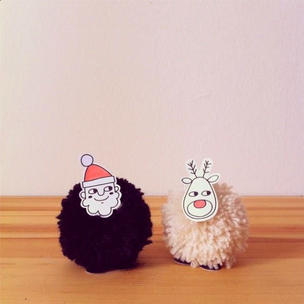 Santa-Rudolf-PomPom-Printable