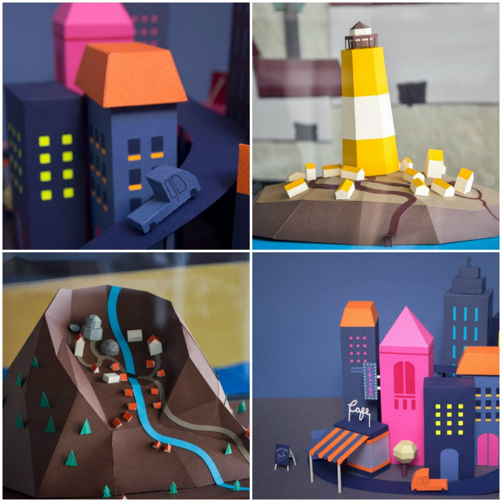 Imaginary paper cities by Guardabosques for Inventando Ciudades (Inventing Cities) exhibition Museo MAR Buenos Aires