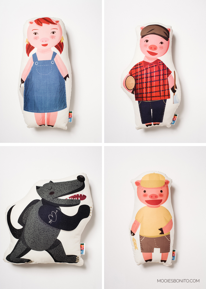 mooiesbonito-three-pigs-soft-dolls