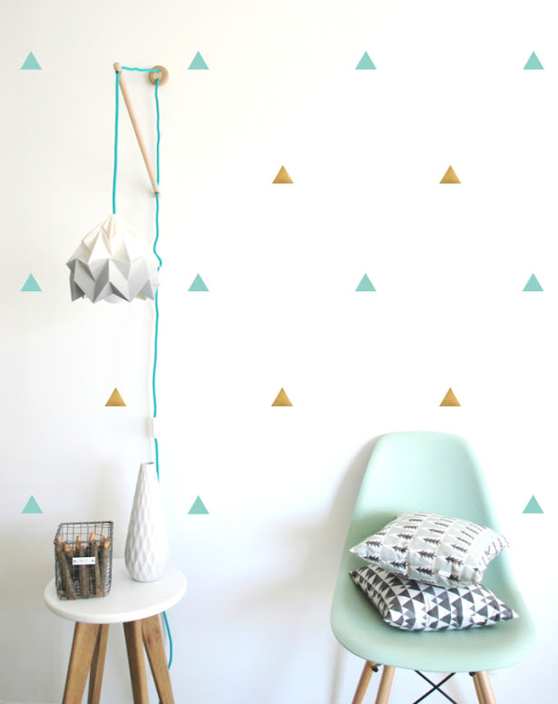 Rain of confetti with these triangle shaped wall stickers