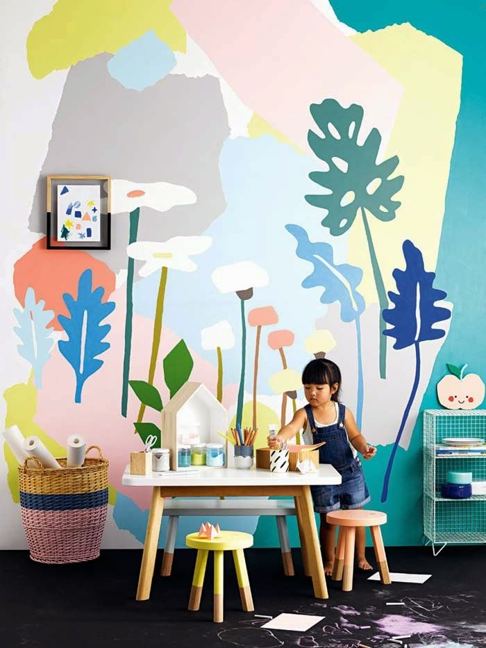 3 creative wall murals for kids petit small for Mural kids room