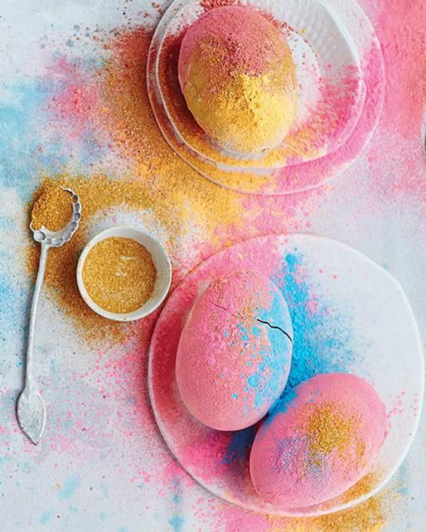 Colored Powder Easter Eggs