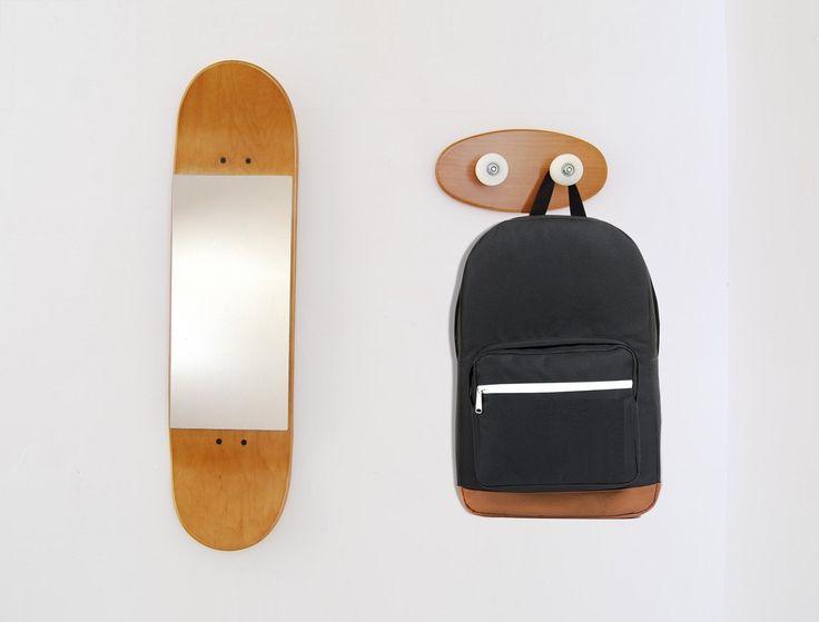 Skateboard Mirror and Coat rack
