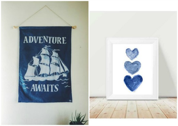 Indigo Artwork For Kids via Etsy
