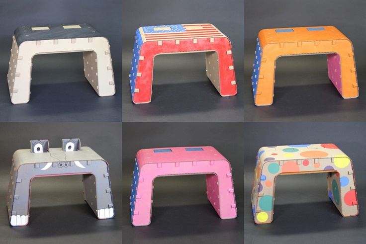 Six Colored Kids Imagination Desks