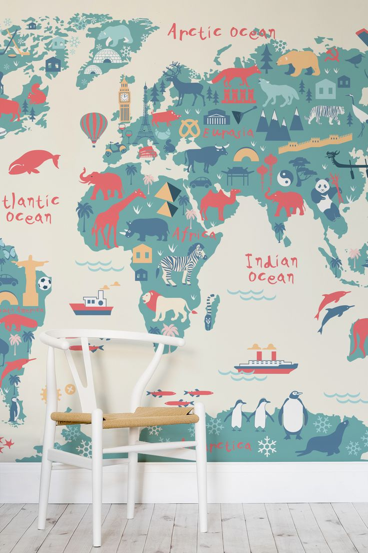 Top 5 pins of the week kids decor petit small for Childrens mural wallpaper