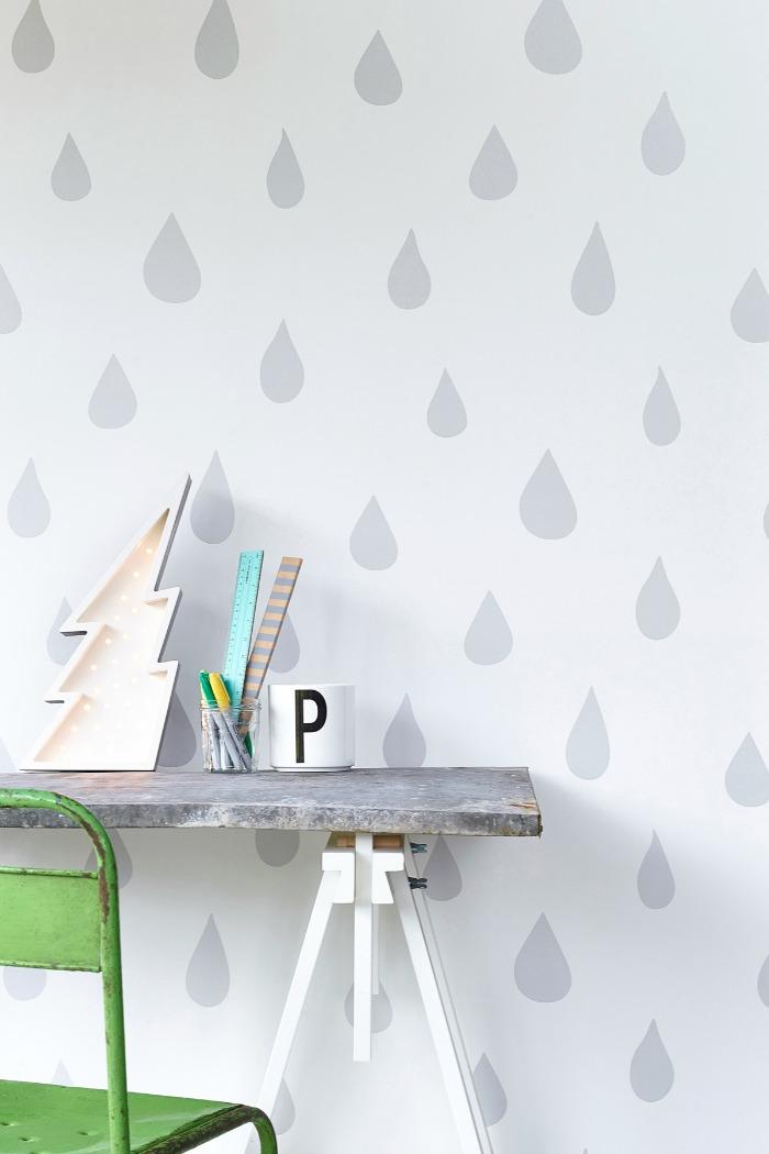 Hibou Home-Raindrops- wallpaper-kids-wall-decor3