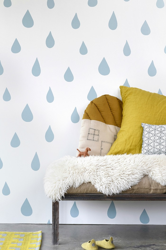 Hibou Home-Raindrops- wallpaper-kids-wall-decor7