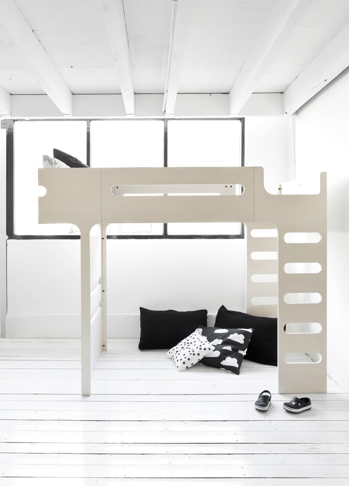 F bunk bed whitewash overview