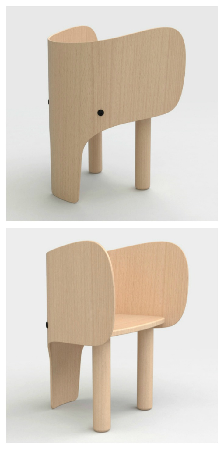 Elephant chair table by marc venot petit small Wooden childrens furniture