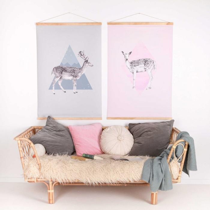 Love mae canvas wall hanging deer