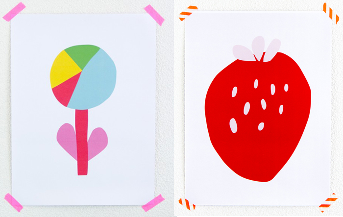 Cactus Bulb and Strawberry prints