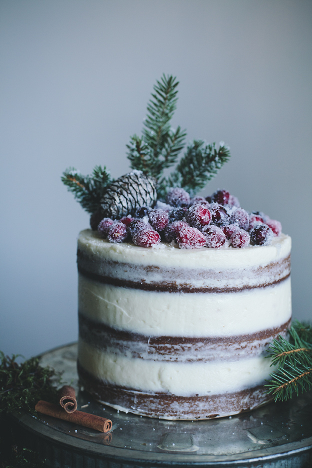 gingerbread-cake-with-cream-cheese-frosting-and-candied-cranberries