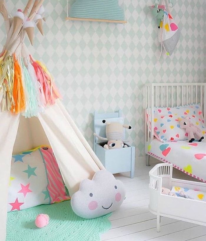 Convey Your Little Girl S Personality Through Her Bedroom: Colourful Clouds And Rainbow Showers