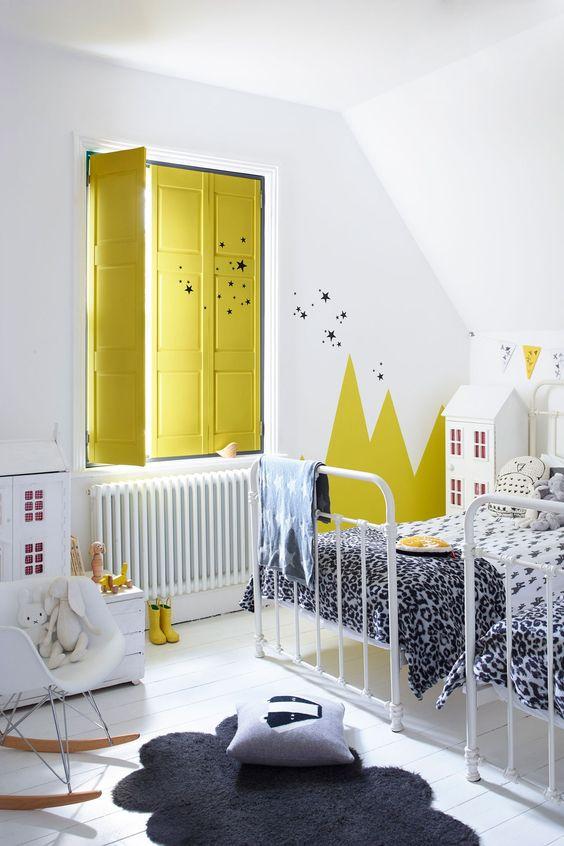 Yellow window in kids room