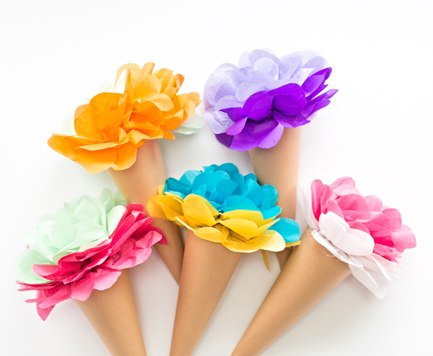 tissue-paper-flower-ice-cream-cones