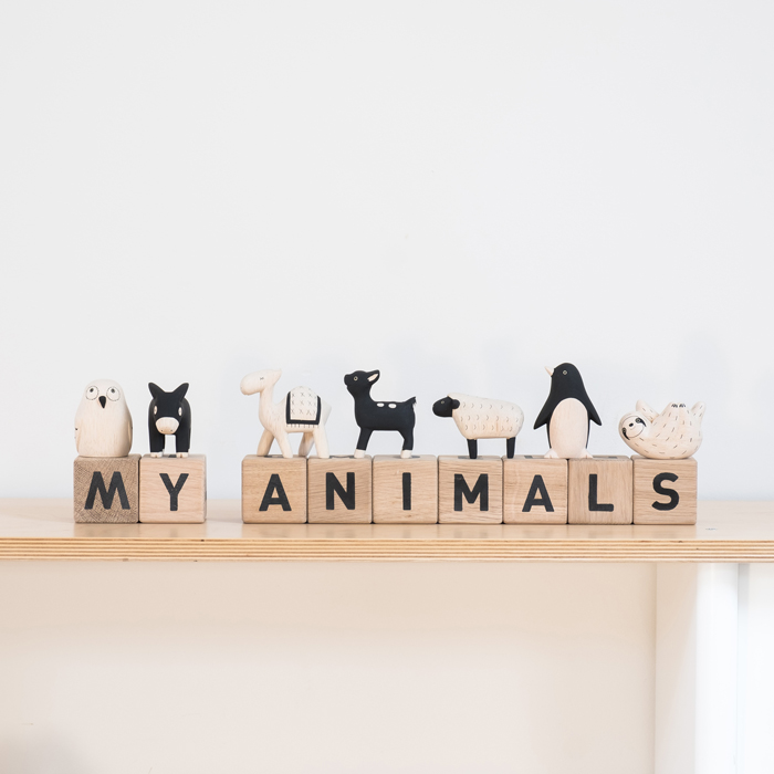 WOODEN-ANIMALS-BY-T-LAB-AND-WORD-CUBES-BY-MAISON-DEUX,-STYLED-BY-BOBBY-RABBIT