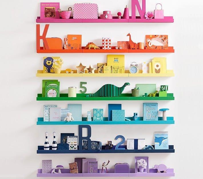 Rainbow coloured books and toys
