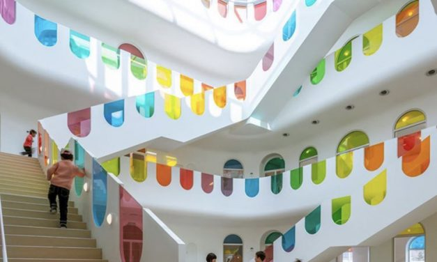 Rainbow preschool designed to inspire creativity.