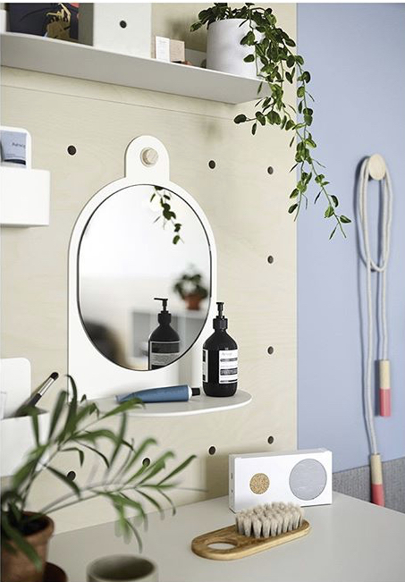 Pegboard and mirror